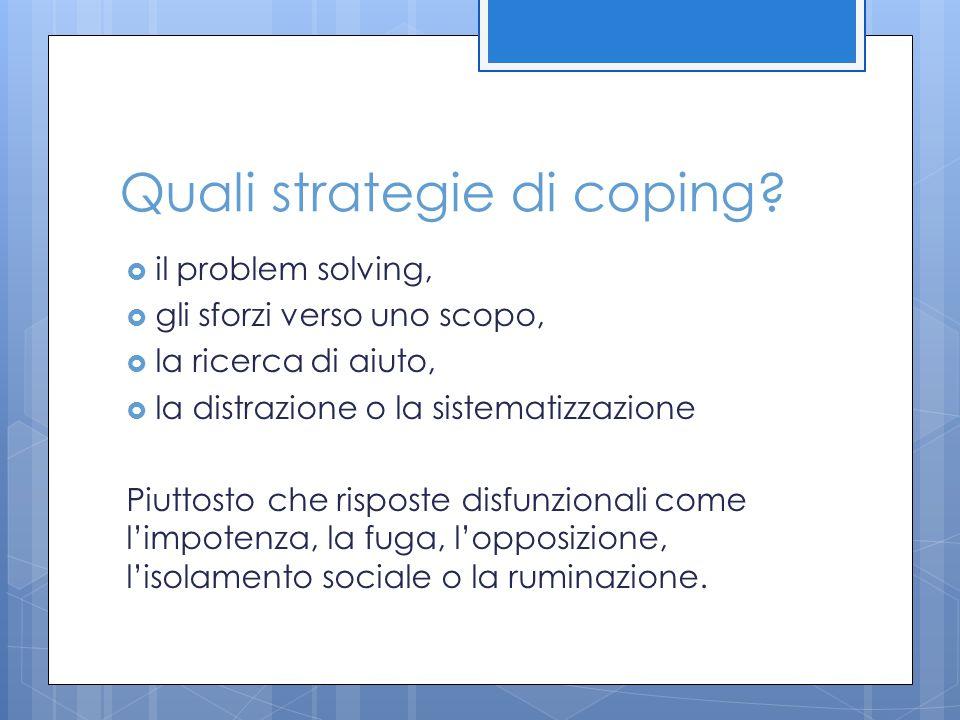 Quali strategie di coping
