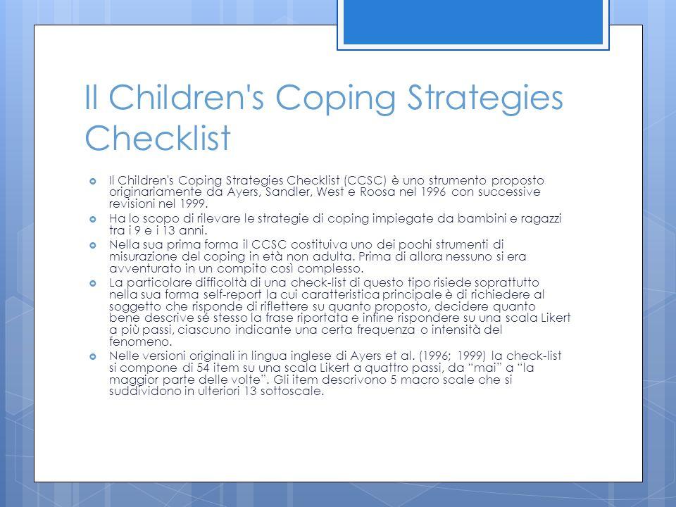 Il Children s Coping Strategies Checklist