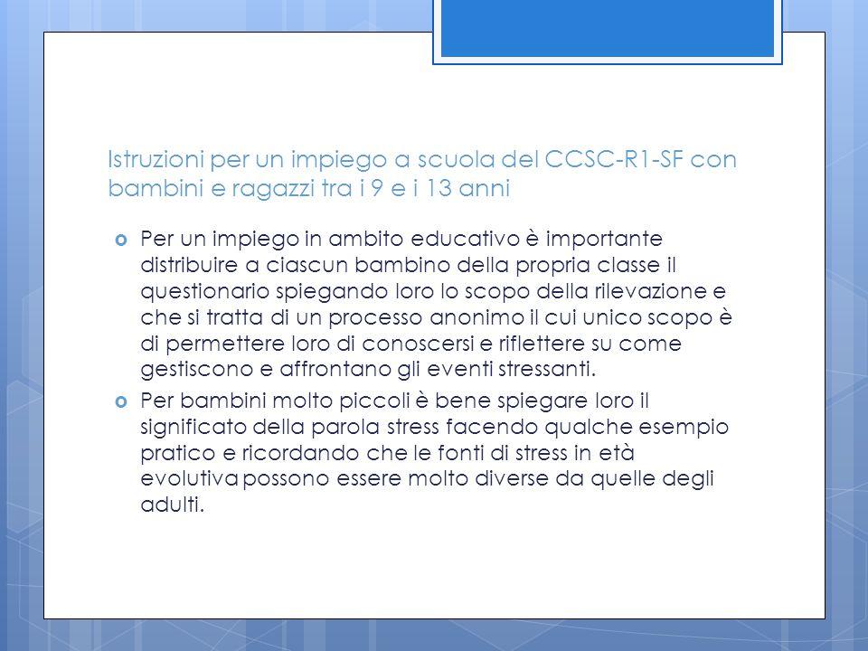 Istruzioni per un impiego a scuola del CCSC-R1-SF con bambini e ragazzi tra i 9 e i 13 anni