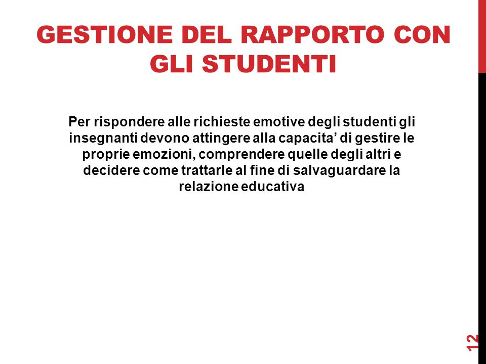 Gestione del rapporto con gli studenti