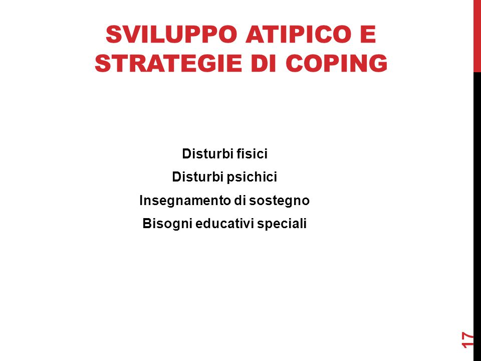 Sviluppo atipico e strategie di coping