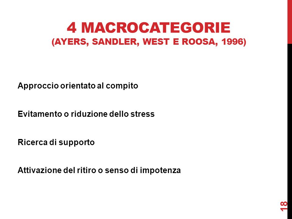 4 macrocategorie (Ayers, Sandler, West e Roosa, 1996)