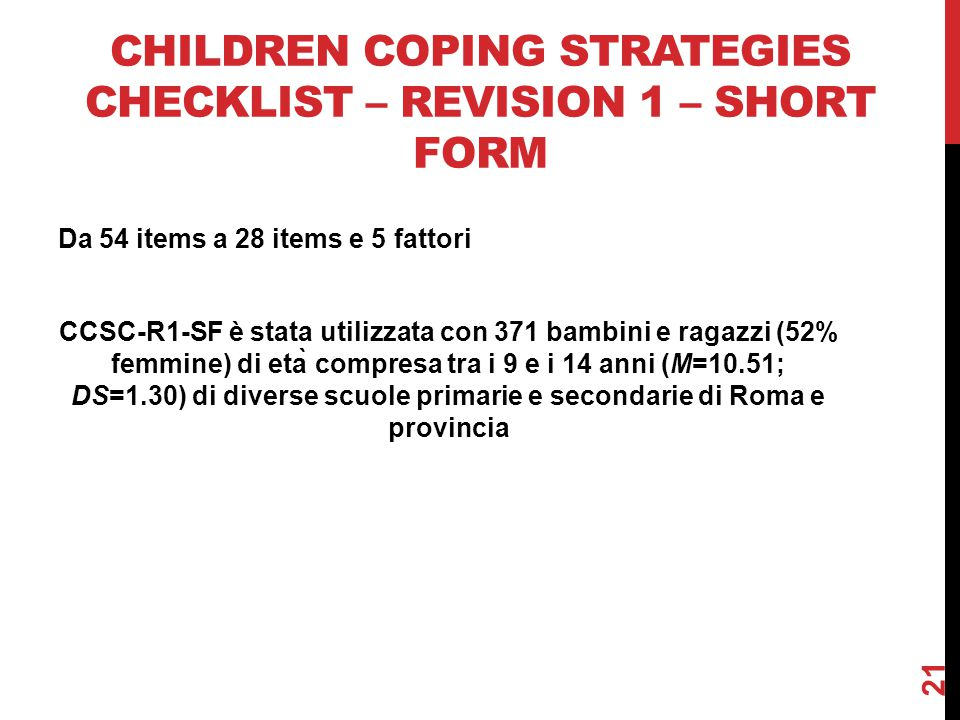Children Coping Strategies Checklist – revision 1 – short form