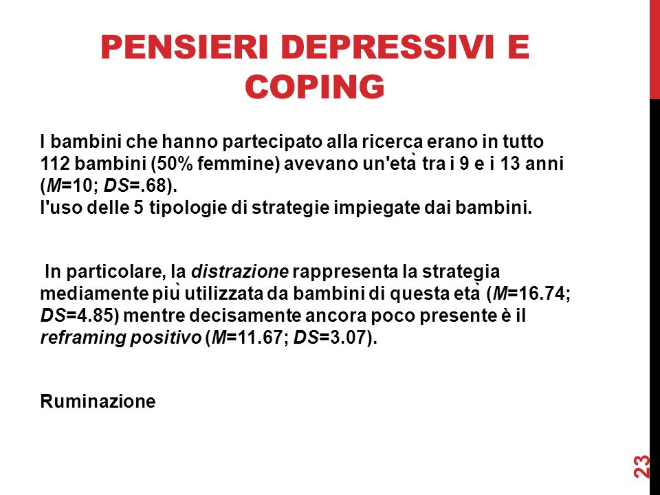 Pensieri depressivi e coping