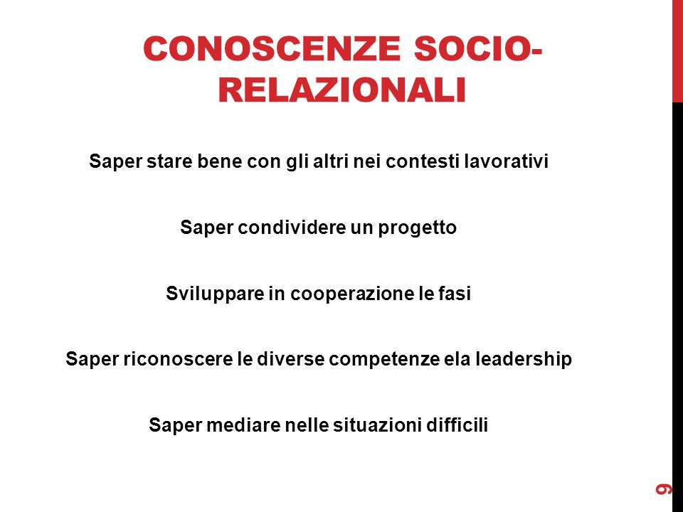 Conoscenze socio-relazionali