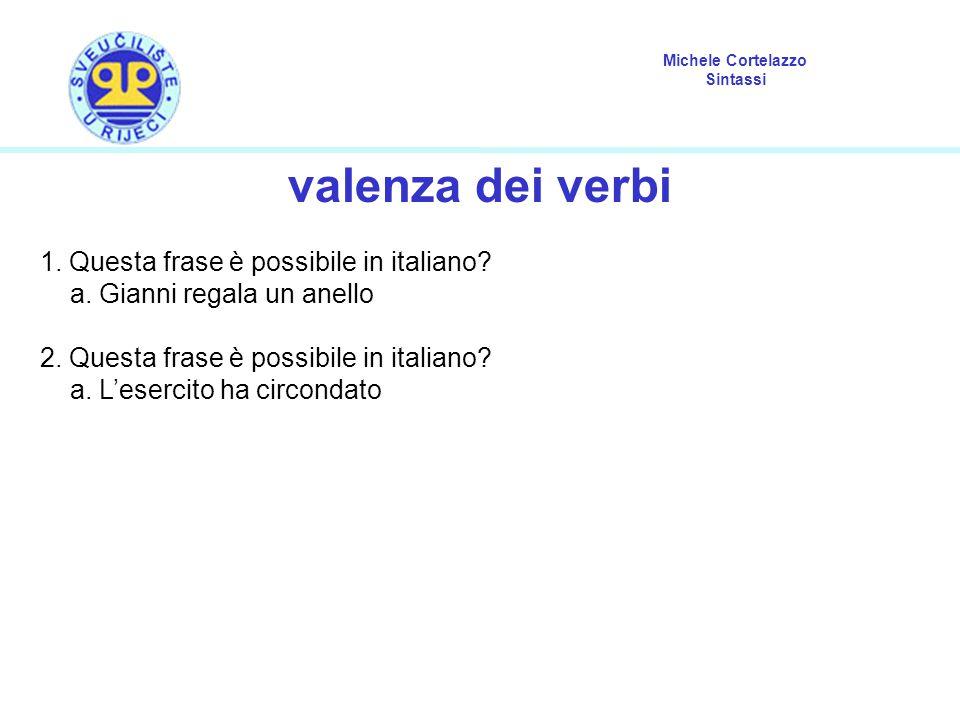 valenza dei verbi 1. Questa frase è possibile in italiano