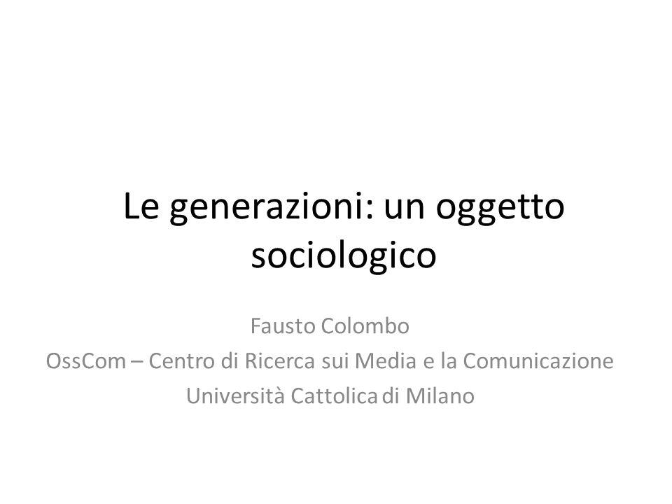 Le generazioni: un oggetto sociologico
