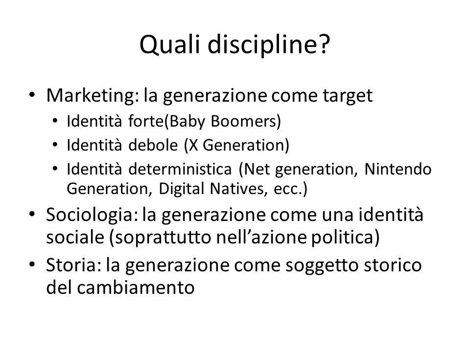 Quali discipline Marketing: la generazione come target