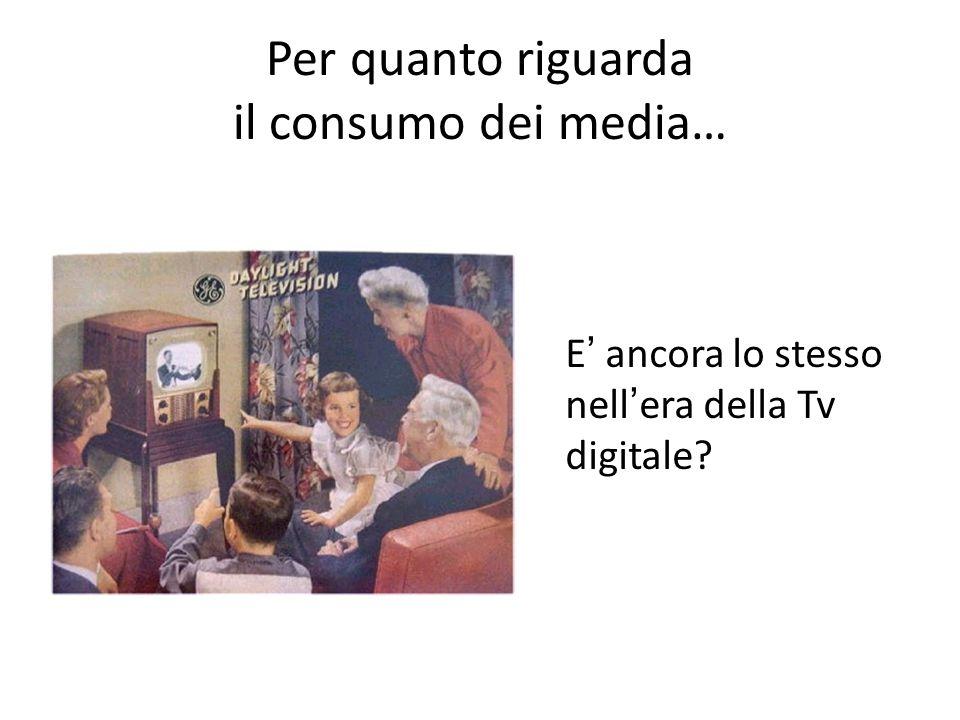 Per quanto riguarda il consumo dei media…