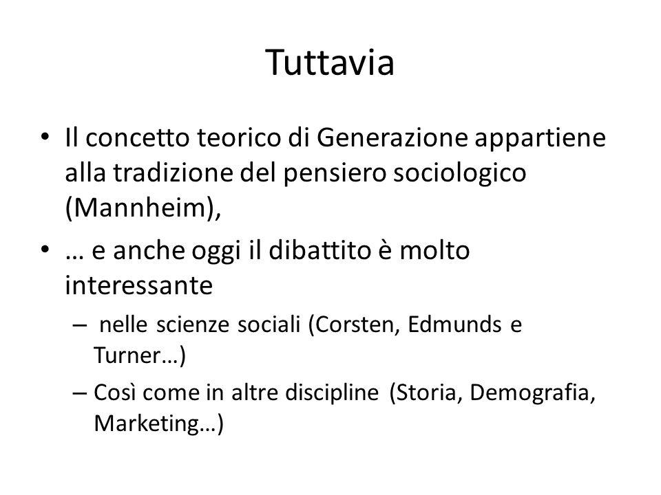 Tuttavia Il concetto teorico di Generazione appartiene alla tradizione del pensiero sociologico (Mannheim),