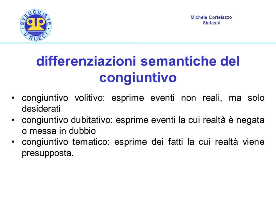 differenziazioni semantiche del congiuntivo