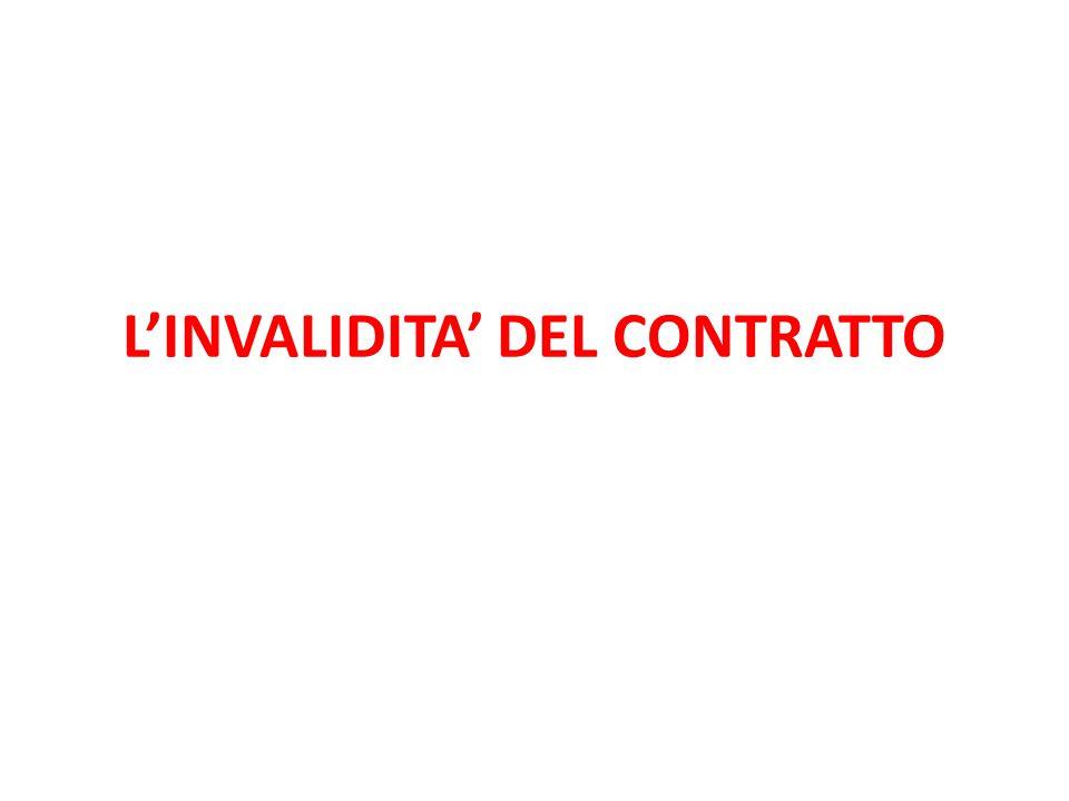 L'INVALIDITA' DEL CONTRATTO