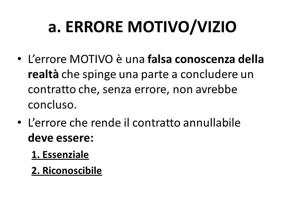 a. ERRORE MOTIVO/VIZIO