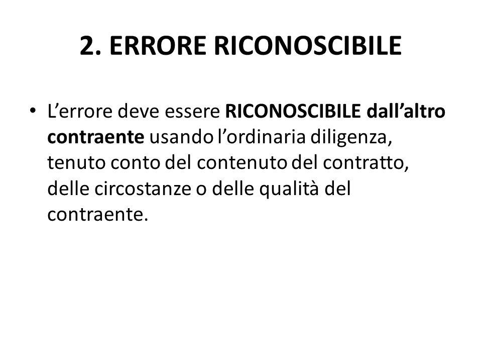 2. ERRORE RICONOSCIBILE