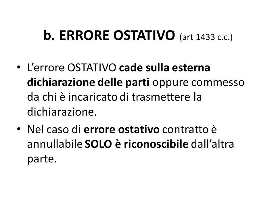 b. ERRORE OSTATIVO (art 1433 c.c.)