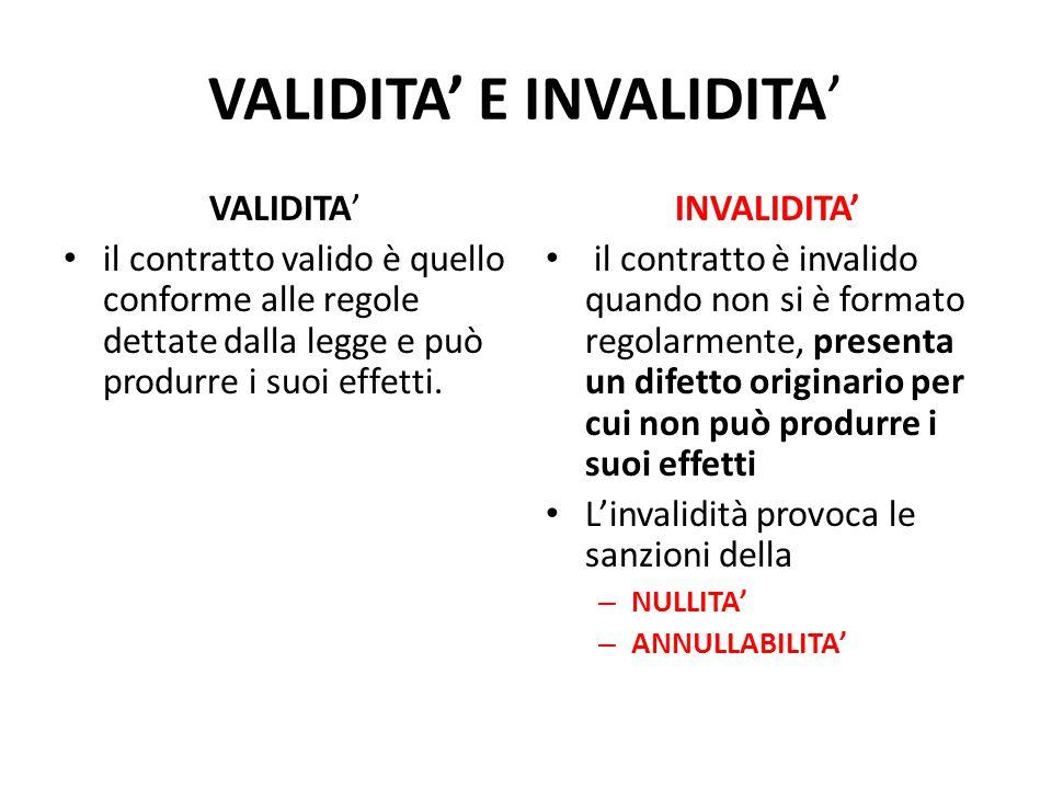 VALIDITA' E INVALIDITA'