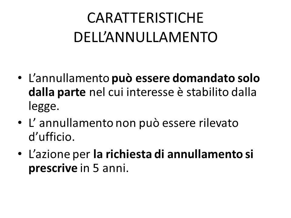 CARATTERISTICHE DELL'ANNULLAMENTO