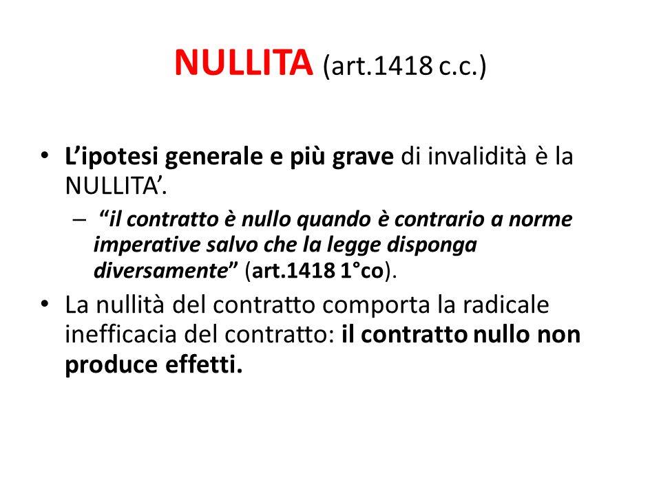 NULLITA (art.1418 c.c.) L'ipotesi generale e più grave di invalidità è la NULLITA'.