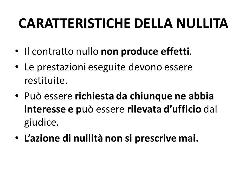 CARATTERISTICHE DELLA NULLITA