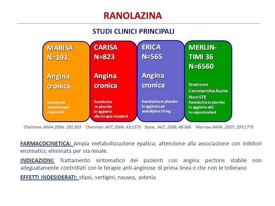 RANOLAZINA Chaitman JAMA 2004; 291:303 Chaitman JACC 2004; 43:1375 Stone, JACC 2006; 48:566 Morrow JAMA, 2007; 297:1775.