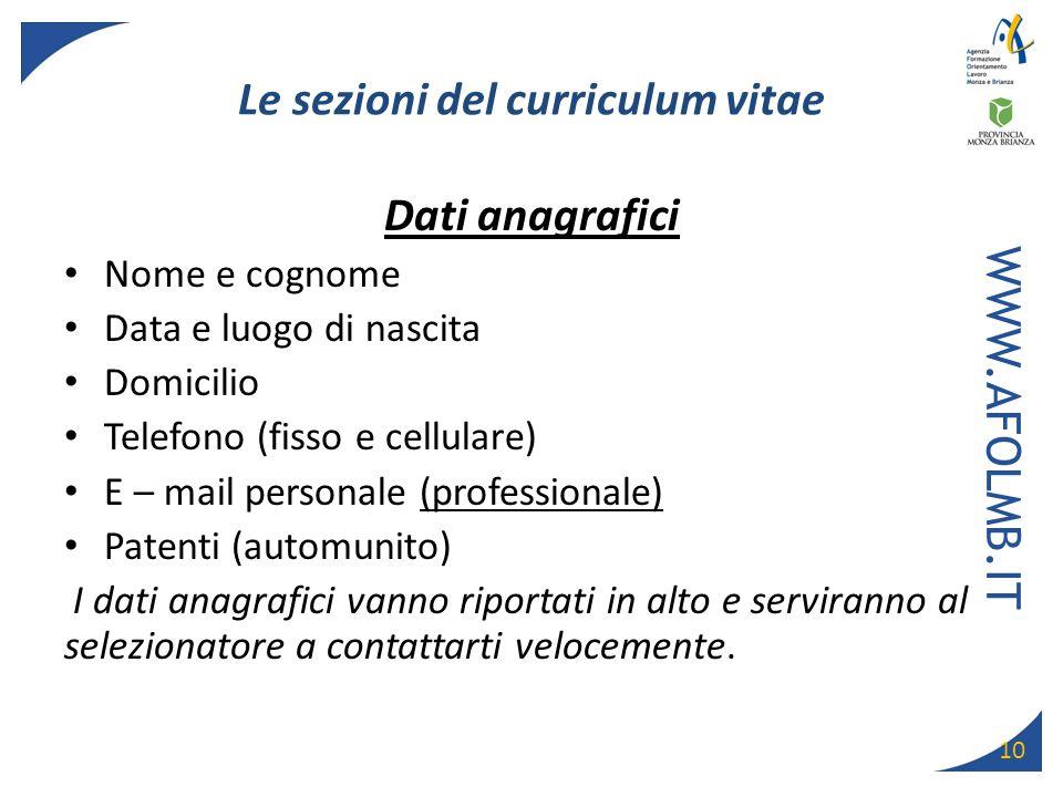Le sezioni del curriculum vitae