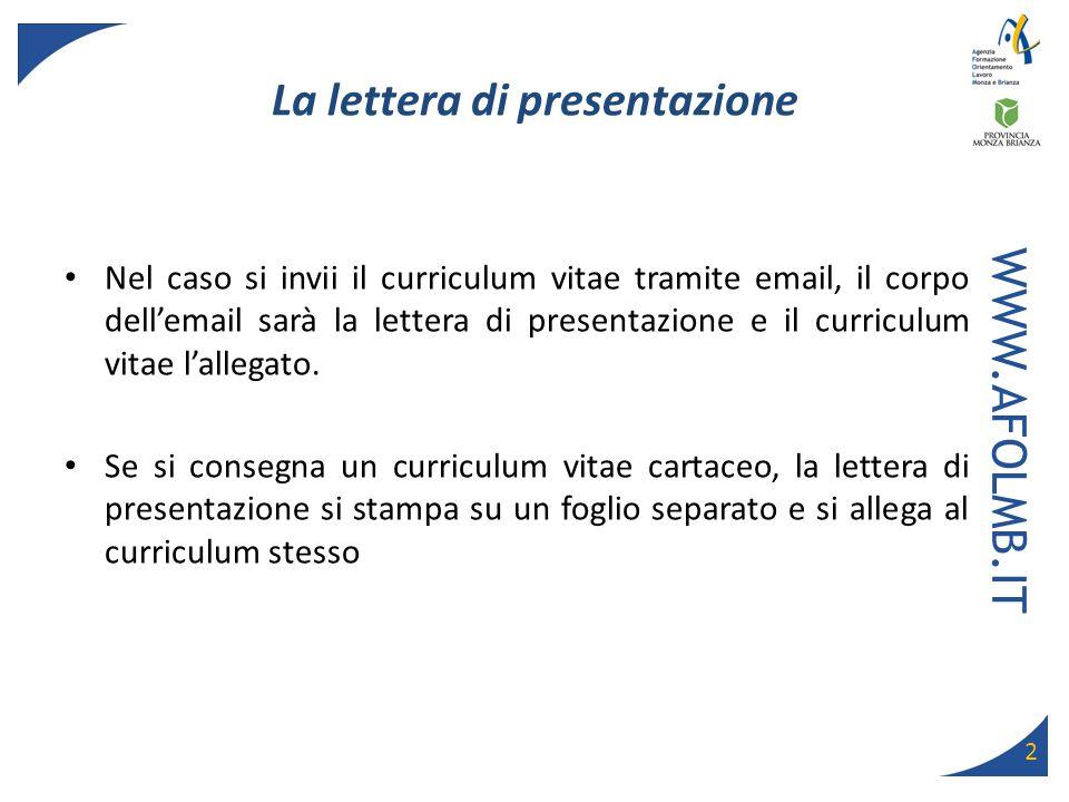 Lettera Di Accompagnamento Al Curriculum Vitae Europeo Firmakoek