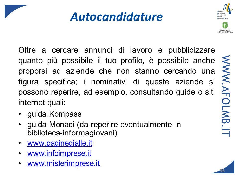 Autocandidature WWW.AFOLMB.IT