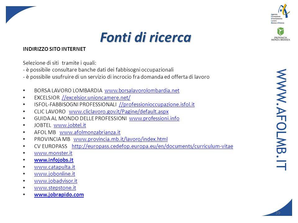 Fonti di ricerca WWW.AFOLMB.IT Indirizzo Sito Internet