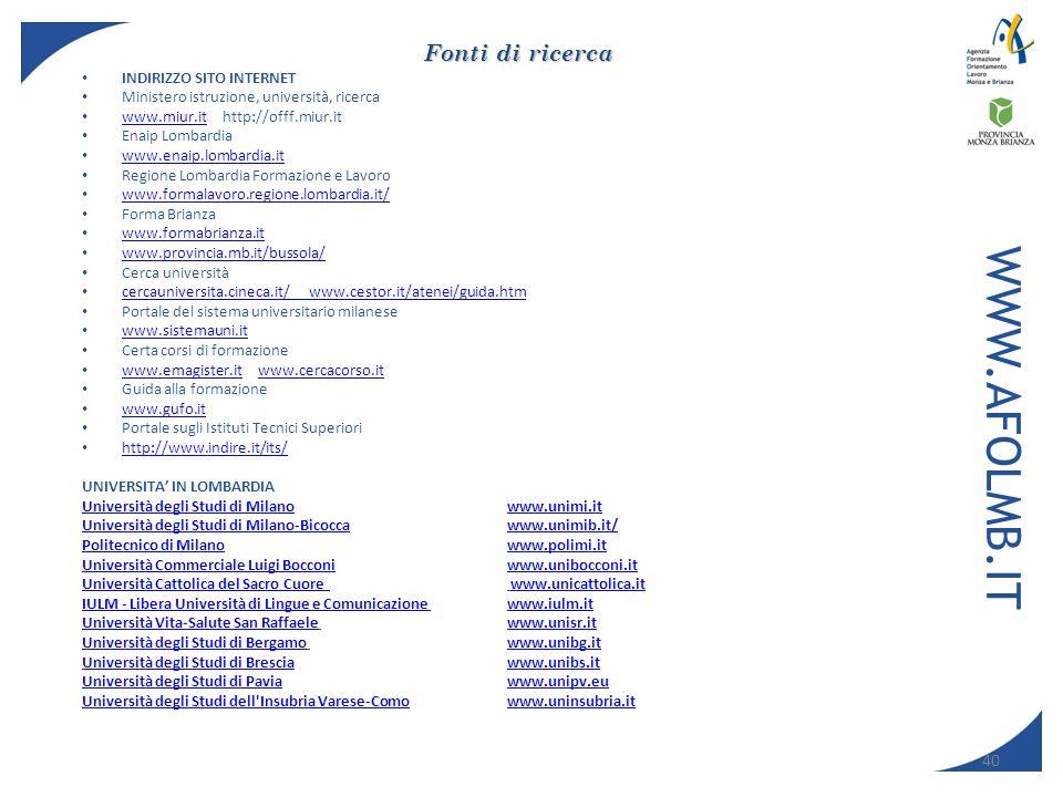 WWW.AFOLMB.IT Fonti di ricerca Indirizzo Sito Internet