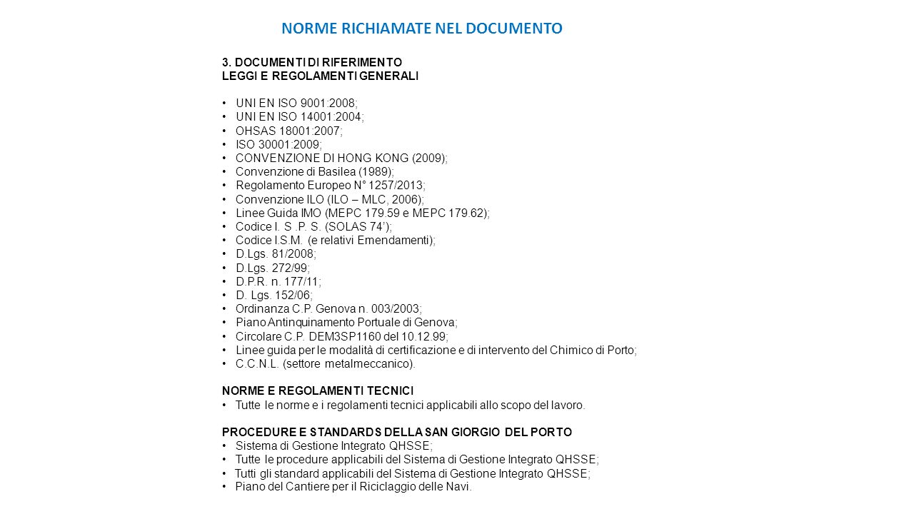 NORME RICHIAMATE NEL DOCUMENTO