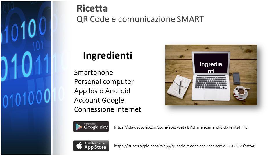 Ricetta Ingredienti QR Code e comunicazione SMART Smartphone