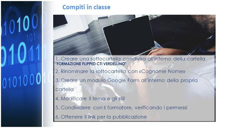 Compiti in classe 1. Creare una sottocartella condivisa all'interno della cartella FORMAZIONE FLIPPED CTI VERDELLINO