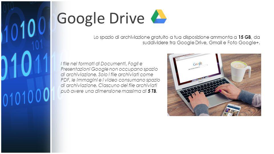 Google Drive Lo spazio di archiviazione gratuito a tua disposizione ammonta a 15 GB, da suddividere tra Google Drive, Gmail e Foto Google+.