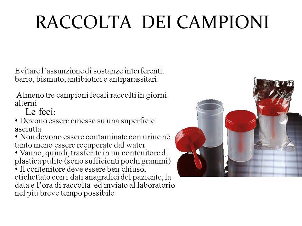 RACCOLTA DEI CAMPIONI Evitare l'assunzione di sostanze interferenti: bario, bismuto, antibiotici e antiparassitari.