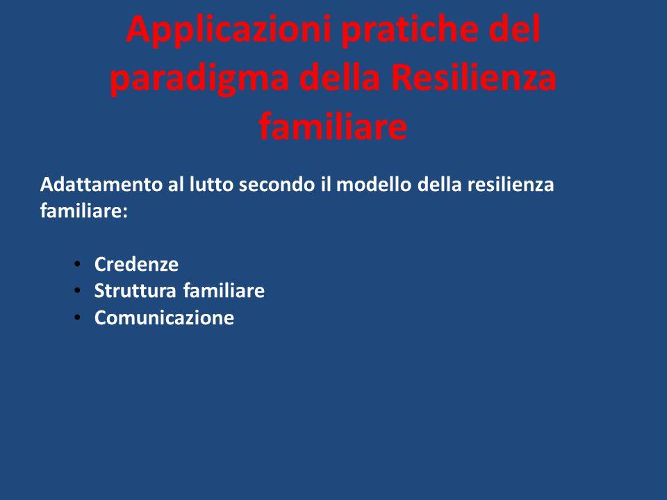 Applicazioni pratiche del paradigma della Resilienza familiare