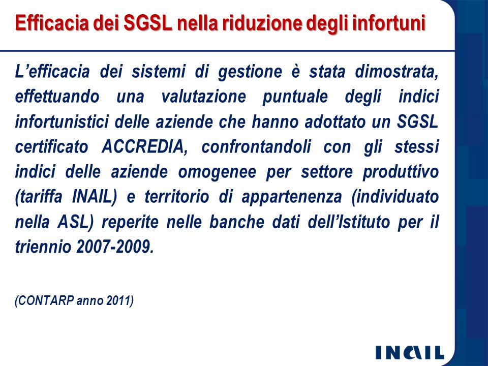 Efficacia dei SGSL nella riduzione degli infortuni