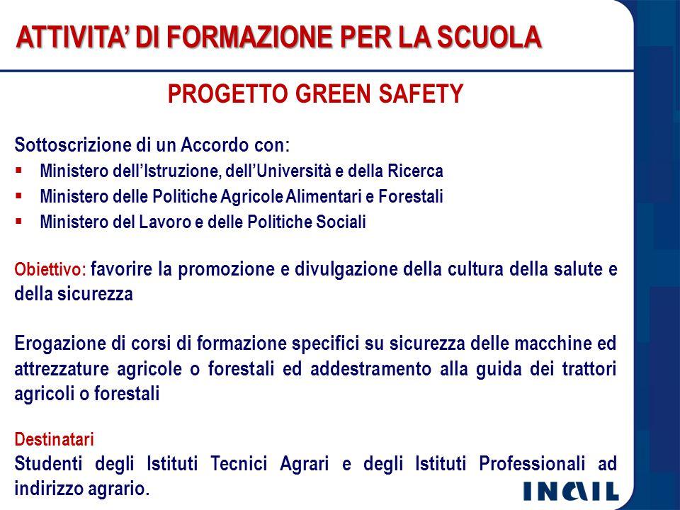 PROGETTO GREEN SAFETY ATTIVITA' DI FORMAZIONE PER LA SCUOLA