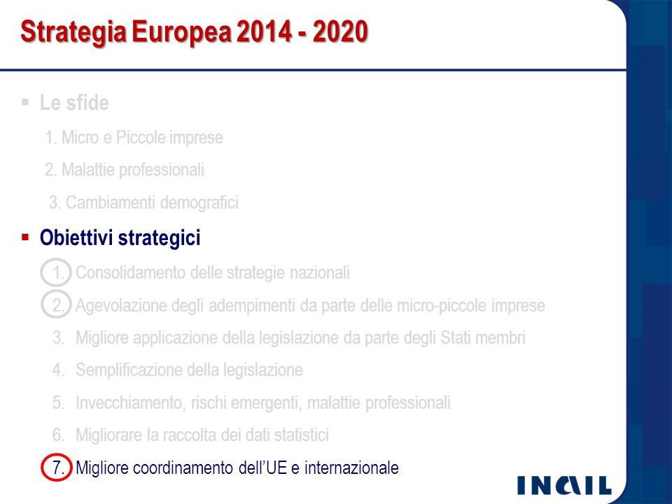 Strategia Europea 2014 - 2020 Le sfide Obiettivi strategici