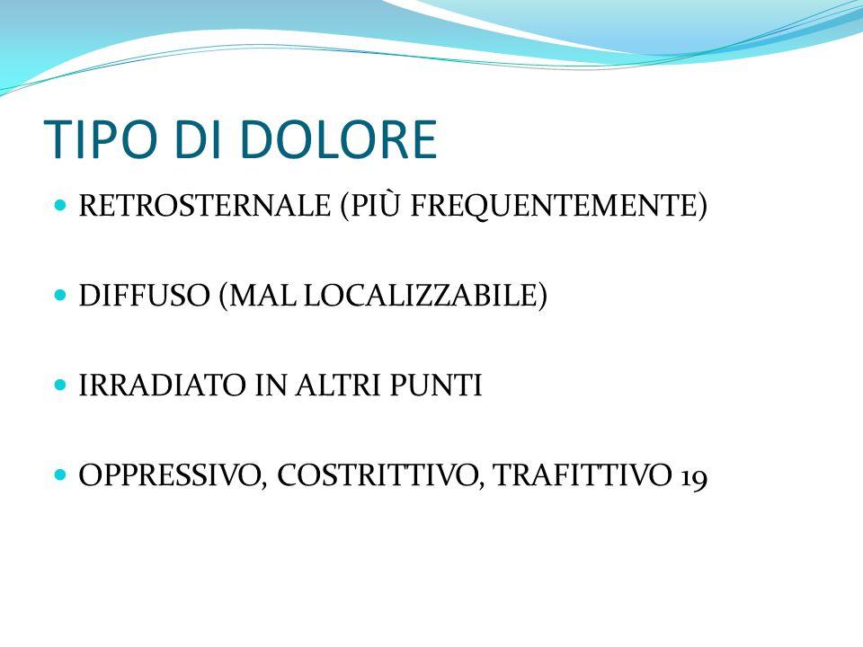 TIPO DI DOLORE RETROSTERNALE (PIÙ FREQUENTEMENTE)
