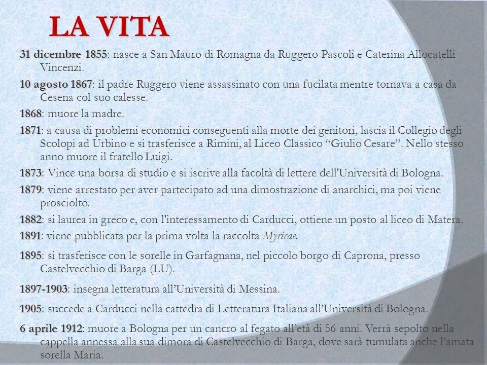 LA VITA 31 dicembre 1855: nasce a San Mauro di Romagna da Ruggero Pascoli e Caterina Allocatelli Vincenzi.