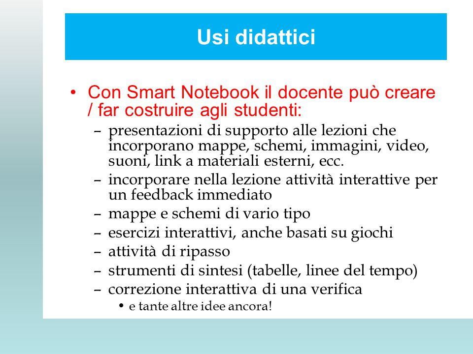 Usi didattici Con Smart Notebook il docente può creare / far costruire agli studenti: