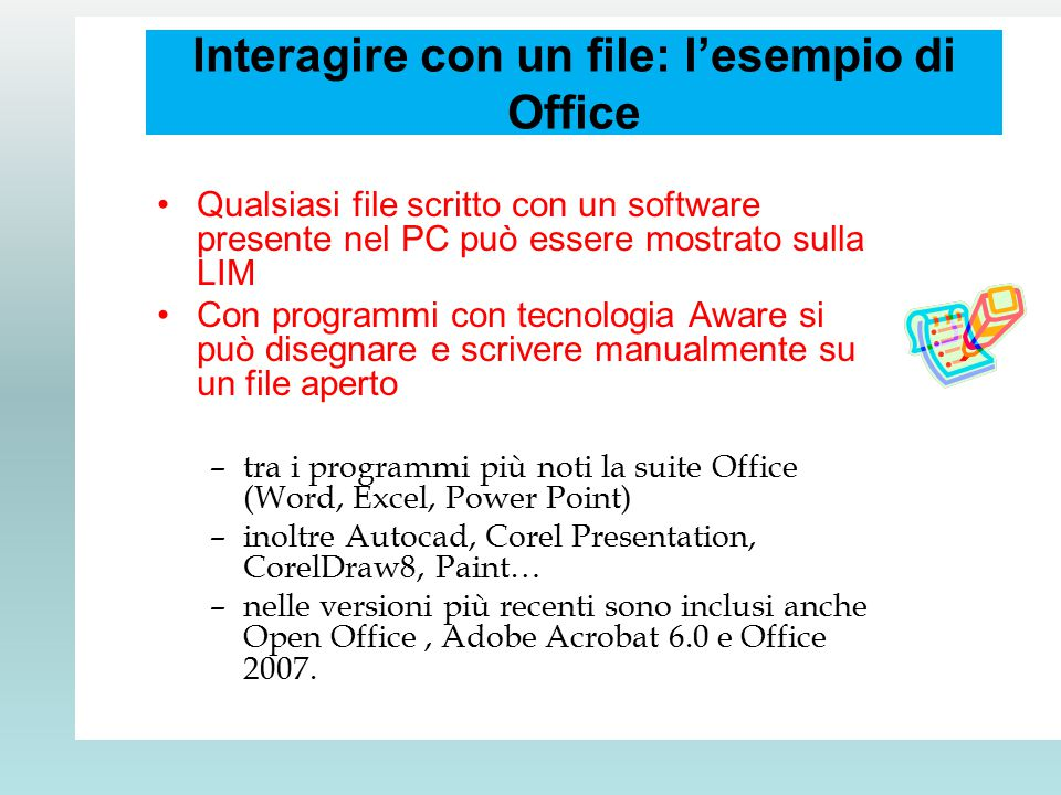 Interagire con un file: l'esempio di Office