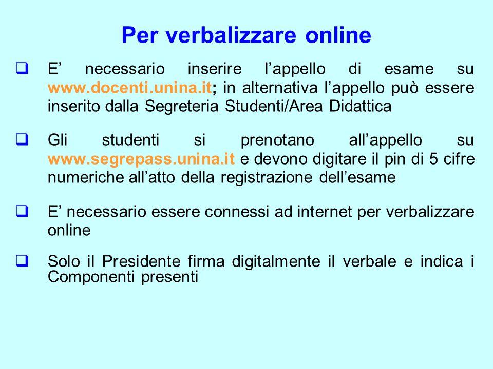 Per verbalizzare online