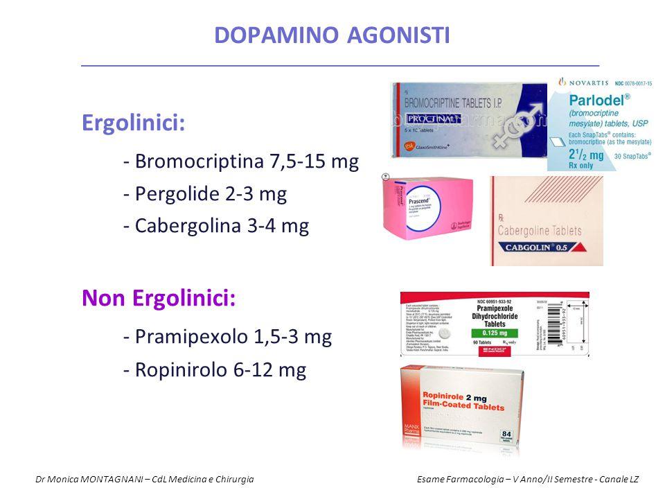 Dopamino agonisti Ergolinici: - Bromocriptina 7,5-15 mg