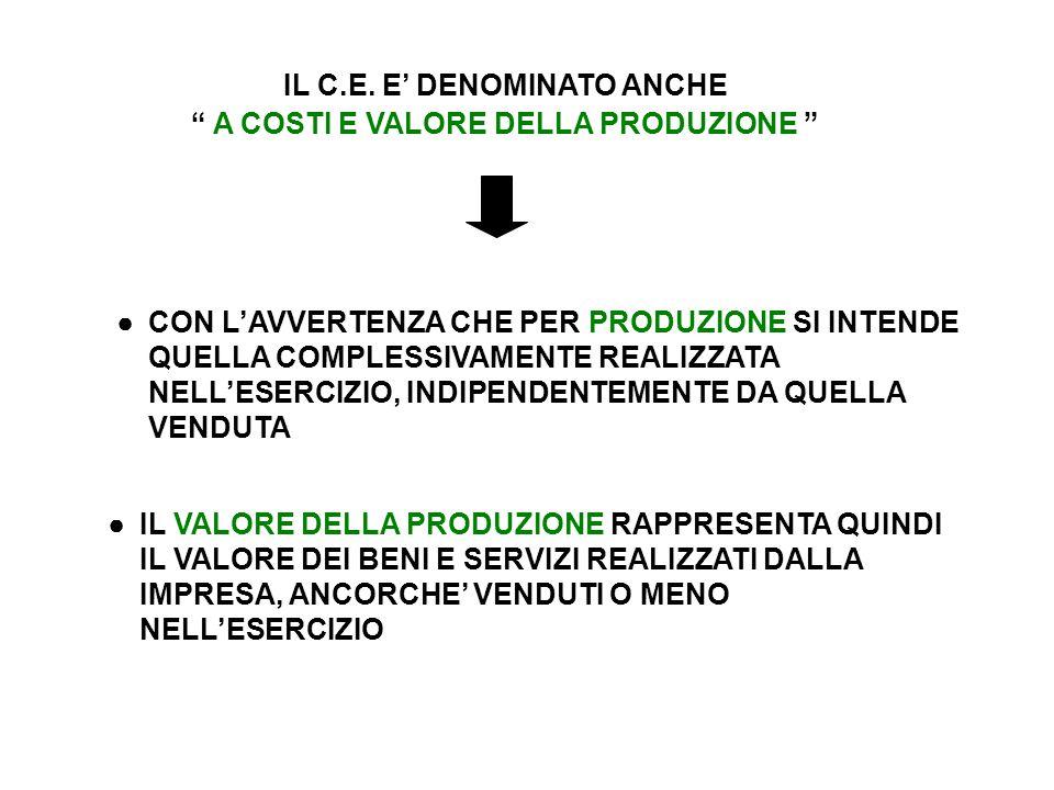IL C.E. E' DENOMINATO ANCHE A COSTI E VALORE DELLA PRODUZIONE