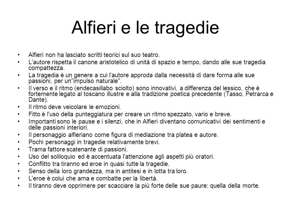 Alfieri e le tragedie Alfieri non ha lasciato scritti teorici sul suo teatro.