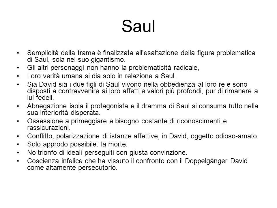 Saul Semplicità della trama è finalizzata all esaltazione della figura problematica di Saul, sola nel suo gigantismo.