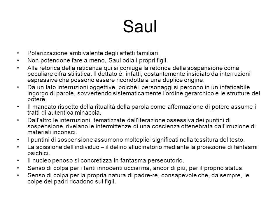 Saul Polarizzazione ambivalente degli affetti familiari.