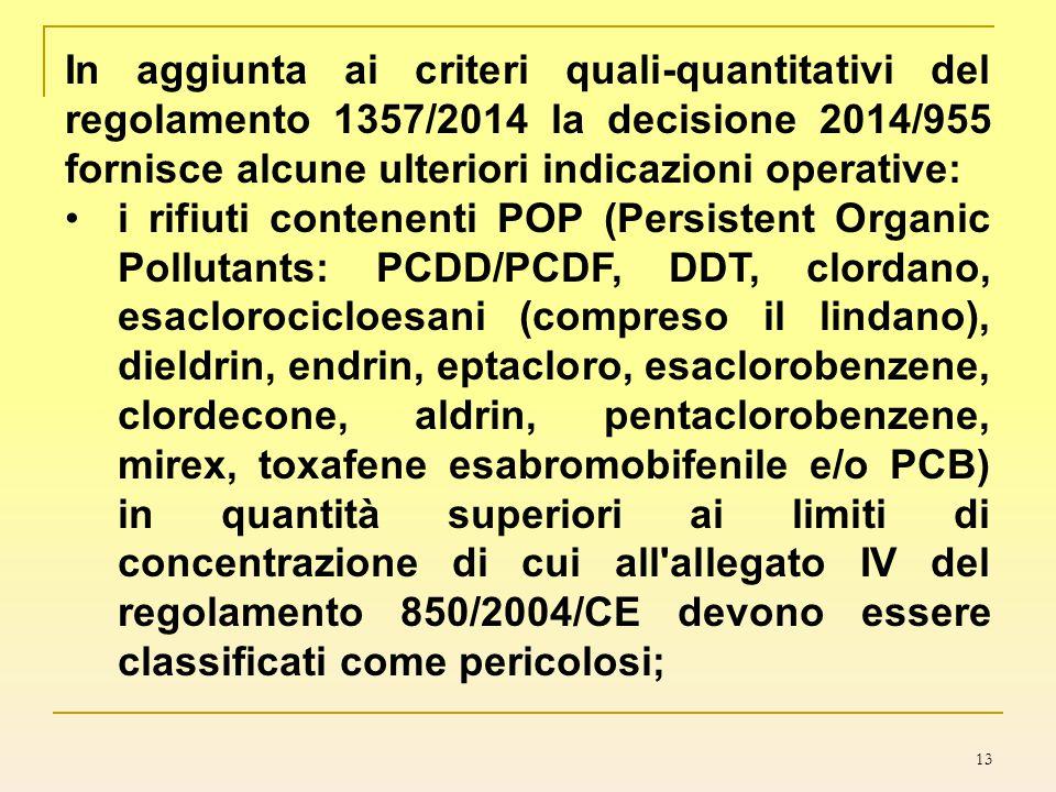 In aggiunta ai criteri quali-quantitativi del regolamento 1357/2014 la decisione 2014/955 fornisce alcune ulteriori indicazioni operative: