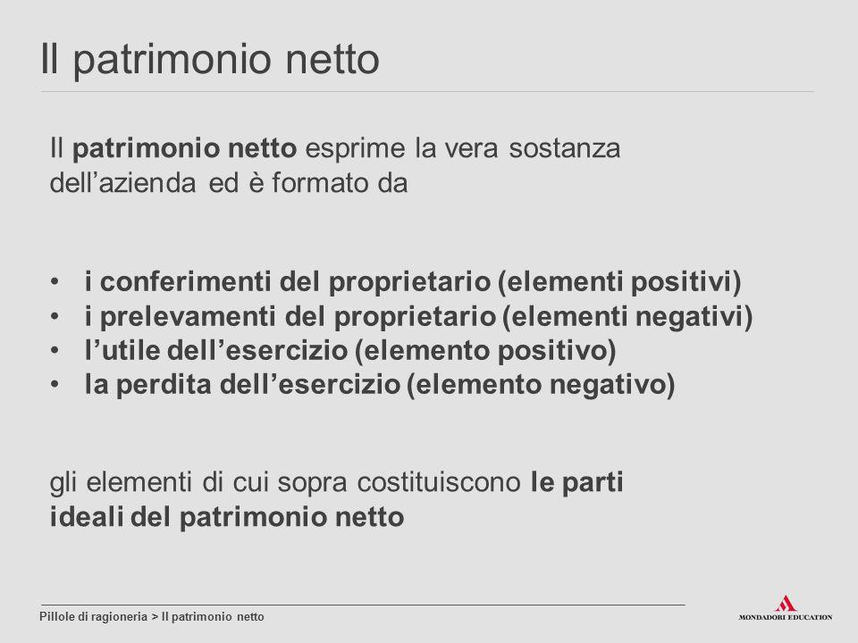Il patrimonio netto Il patrimonio netto esprime la vera sostanza dell'azienda ed è formato da. i conferimenti del proprietario (elementi positivi)